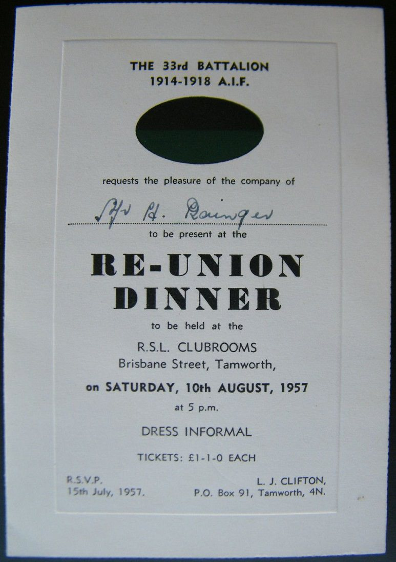 33rd Battalion Reunion