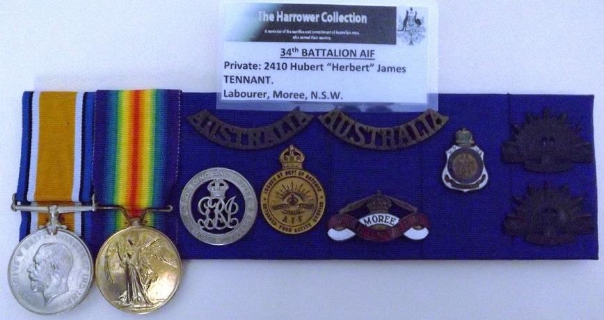 Medals to Hubert James Tennant