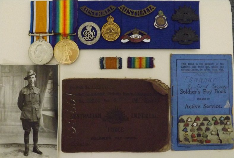 Medals and pay books to Hubert James Tennant