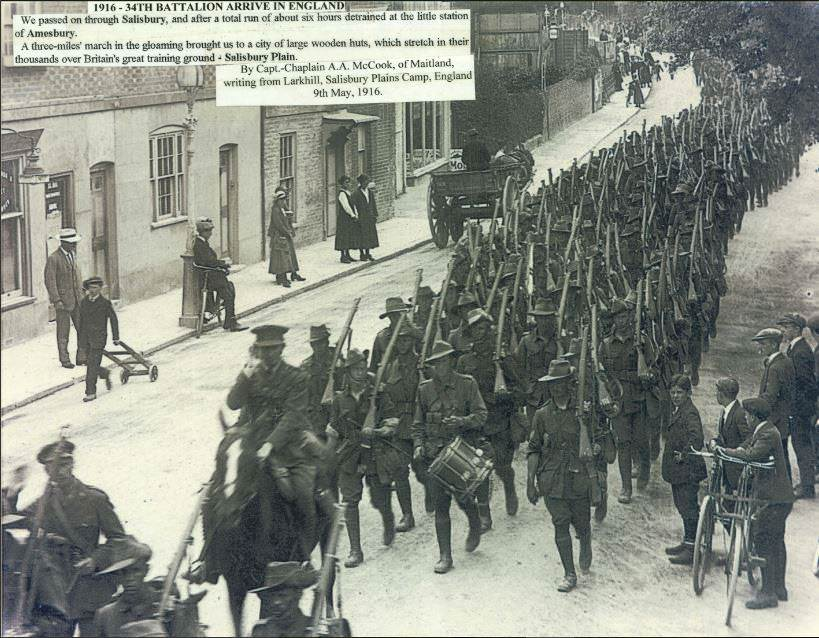 34th Battalion marching through Amesbury