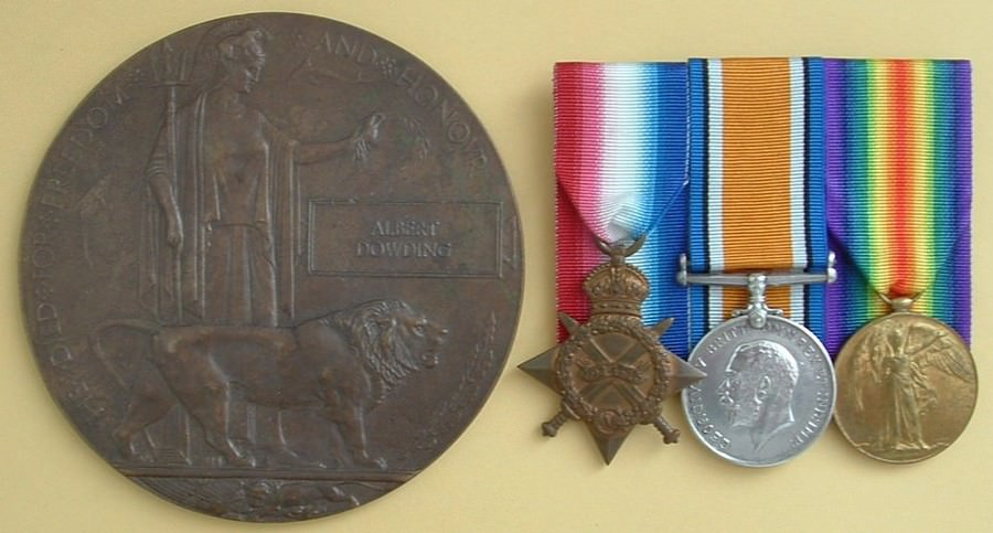 Memorial Plaque and Medals to LT A DOWDING AIF