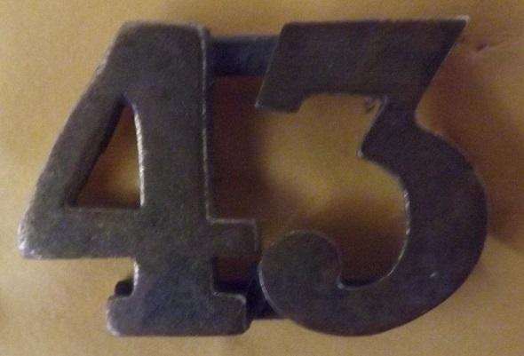 43rd Militia Badge.